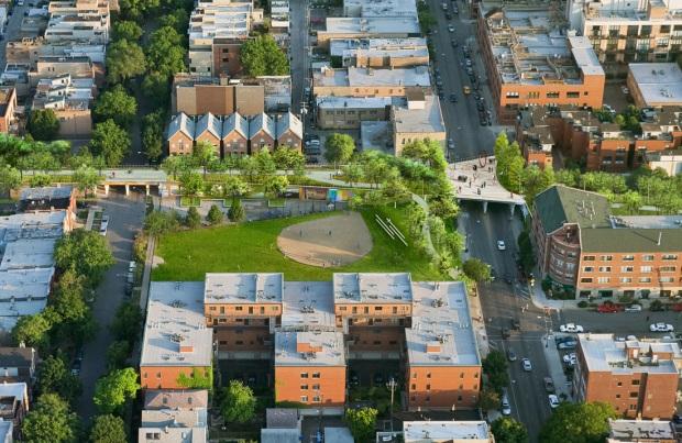 Ce à quoi pourrait ressembler le Churchill Field Park après réaméngament du Bloomingdale Trail